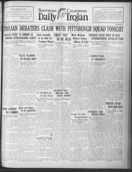 Daily Trojan, Vol. 20, No. 80, February 11, 1929