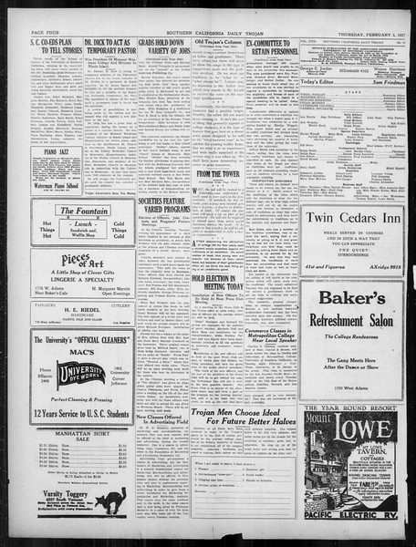 Daily Trojan, Vol. 18, No. 74, February 03, 1927