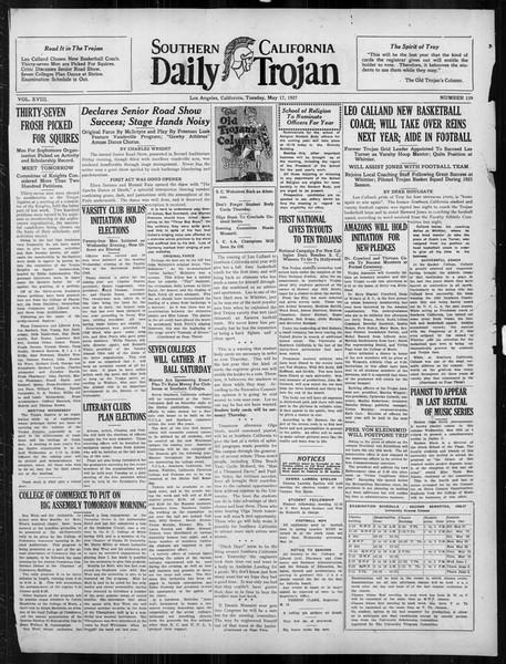 Daily Trojan, Vol. 18, No. 139, May 17, 1927