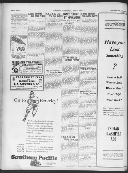 Daily Trojan, Vol. 20, No. 24, October 17, 1928