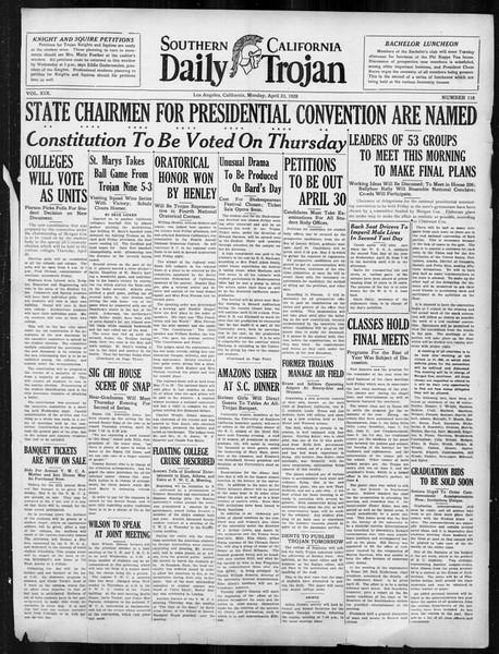Daily Trojan, Vol. 19, No. 118, April 23, 1928