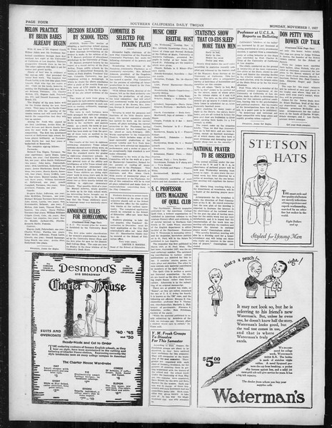 Daily Trojan, Vol. 19, No. 36, November 07, 1927