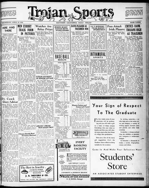 Southern California Daily Trojan, Vol. 21, No. 128, April 30, 1930