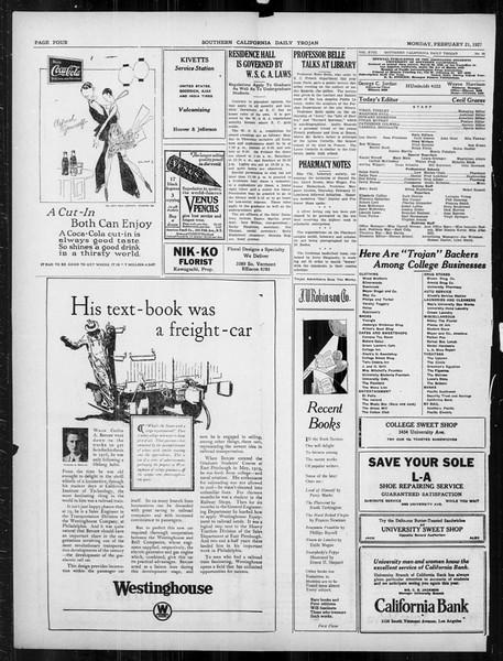 Daily Trojan, Vol. 18, No. 85, February 21, 1927