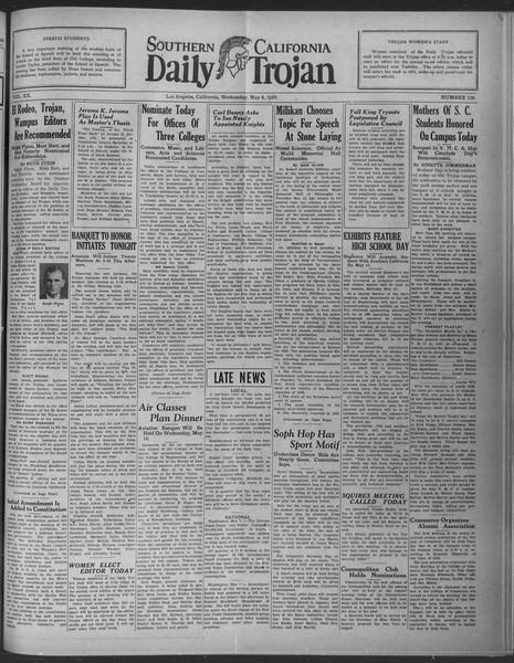 Daily Trojan, Vol. 20, No. 136, May 08, 1929