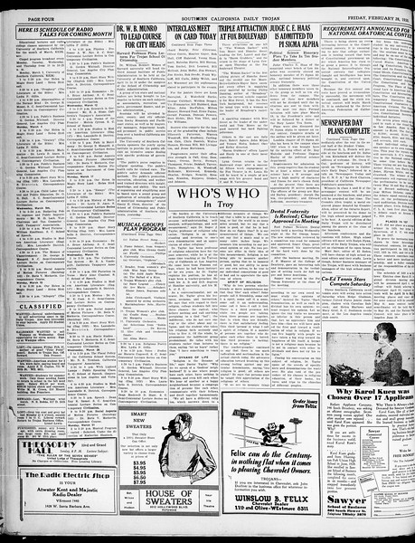 Southern California Daily Trojan, Vol. 21, No. 92, February 28, 1930