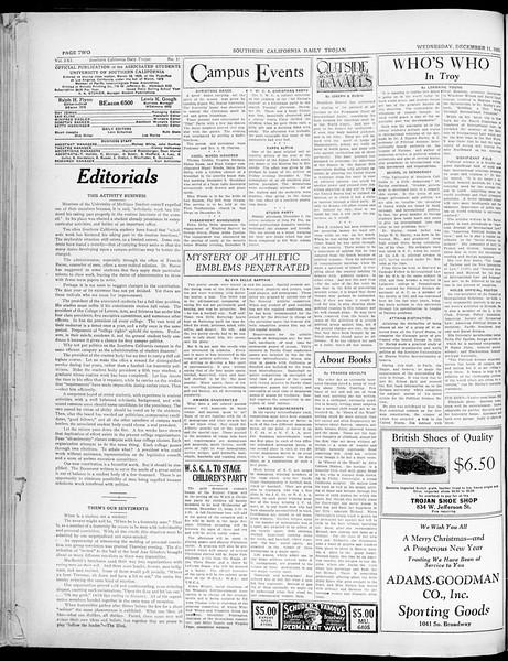Southern California Daily Trojan, Vol. 21, No. 57, December 11, 1929