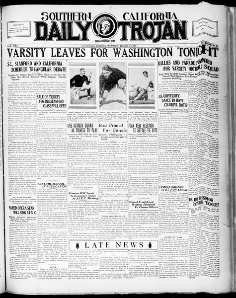 Southern California Daily Trojan, Vol. 21, No. 17, October 09, 1929