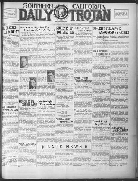 Southern California Daily Trojan, Vol. 21, No. 11, October 01, 1929