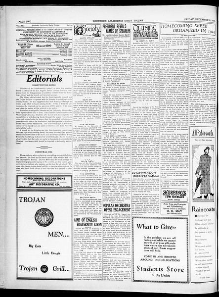 Southern California Daily Trojan, Vol. 21, No. 54, December 06, 1929