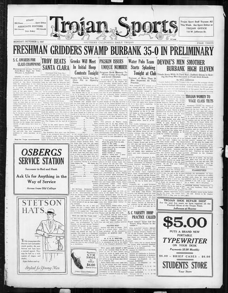 Daily Trojan, Vol. 19, No. 11, October 03, 1927