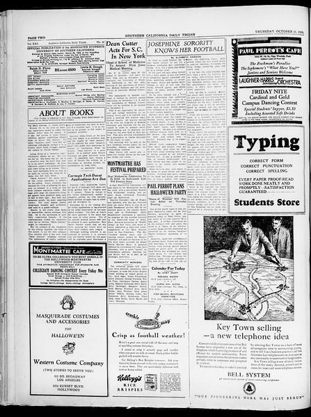 Southern California Daily Trojan, Vol. 21, No. 33, October 31, 1929