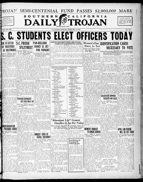 Southern California Daily Trojan, Vol. 21, No. 135, May 09, 1930