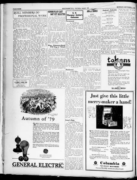 Southern California Daily Trojan, Vol. 21, No. 15, October 07, 1929