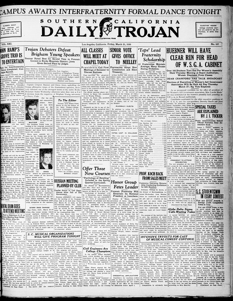 Southern California Daily Trojan, Vol. 21, No. 107, March 21, 1930