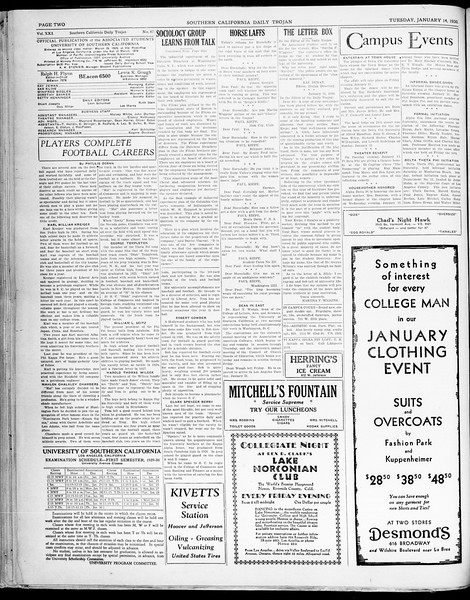 Southern California Daily Trojan, Vol. 21, No. 67, January 14, 1930