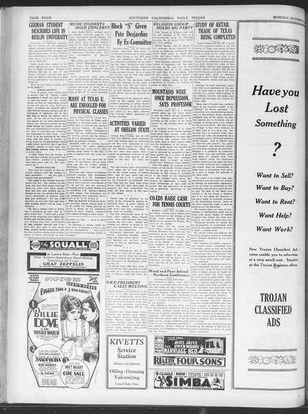 Daily Trojan, Vol. 20, No. 27, October 22, 1928