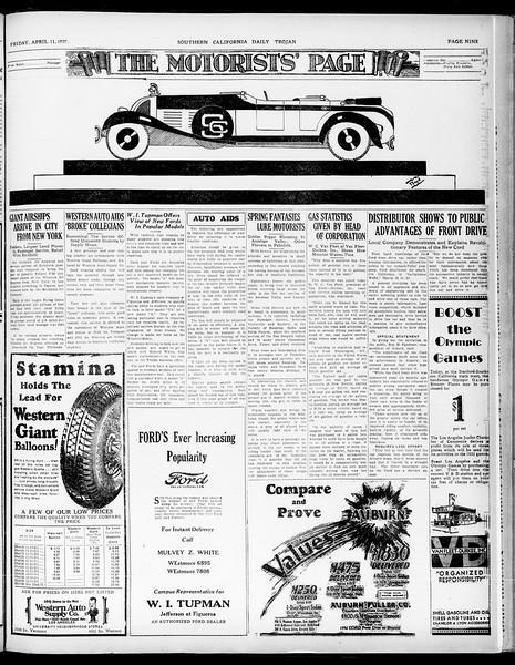 Southern California Daily Trojan, Vol. 21, No. 122, April 11, 1930