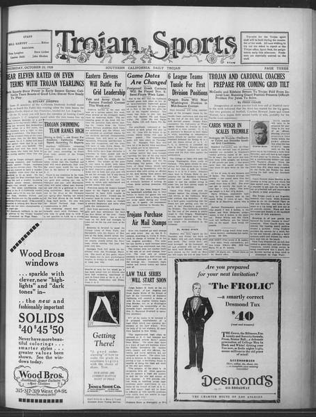 Daily Trojan, Vol. 20, No. 30, October 25, 1928