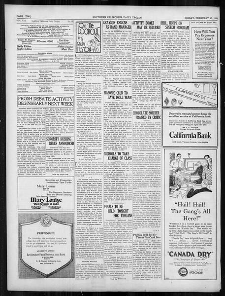 Daily Trojan, Vol. 19, No. 81, February 17, 1928
