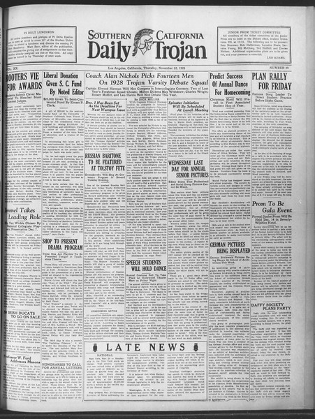 Daily Trojan, Vol. 20, No. 49, November 22, 1928