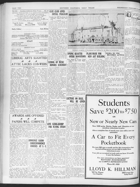 Daily Trojan, Vol. 20, No. 92, February 27, 1929