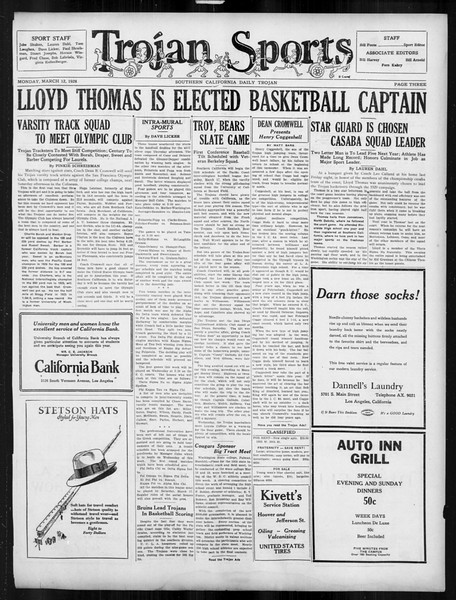 Daily Trojan, Vol. 19, No. 96, March 12, 1928