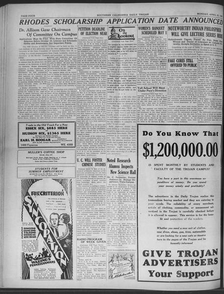 Daily Trojan, Vol. 20, No. 124, April 22, 1929