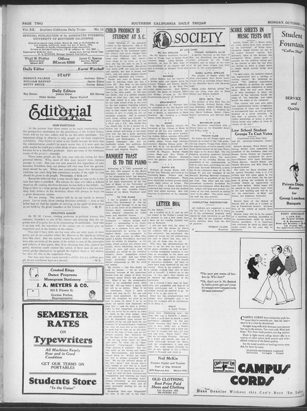 Daily Trojan, Vol. 20, No. 12, October 01, 1928