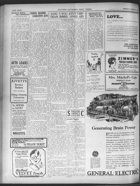 Daily Trojan, Vol. 20, No. 106, March 18, 1929