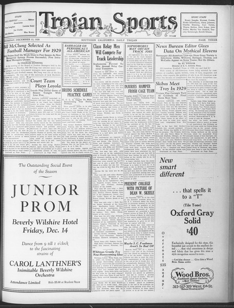 Daily Trojan, Vol. 20, No. 60, December 13, 1928