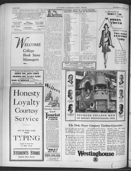 Daily Trojan, Vol. 20, No. 117, April 11, 1929