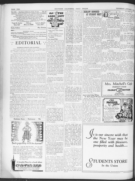 Daily Trojan, Vol. 20, No. 62, January 03, 1929
