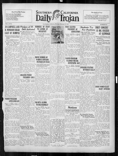 Daily Trojan, Vol. 18, No. 80, February 14, 1927