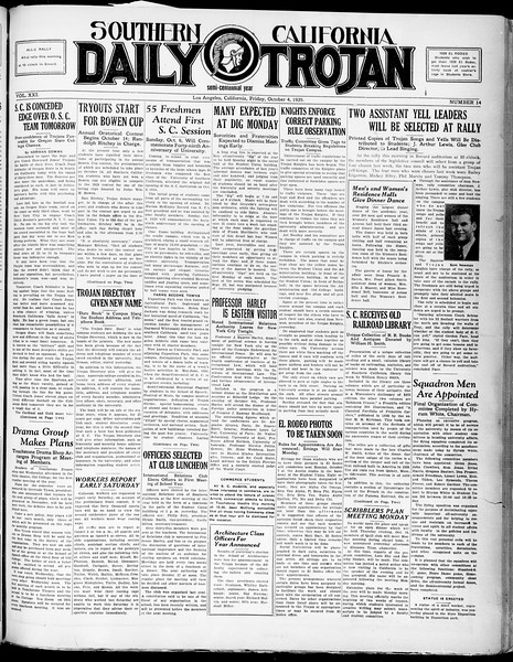 Southern California Daily Trojan, Vol. 21, No. 14, October 04, 1929