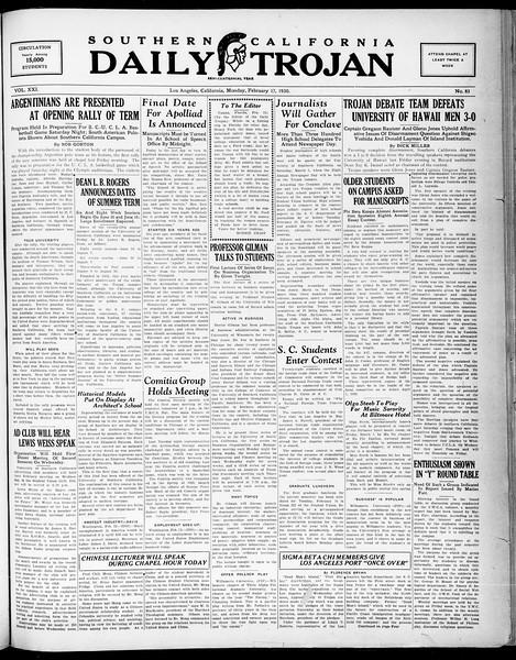 Southern California Daily Trojan, Vol. 21, No. 83, February 17, 1930