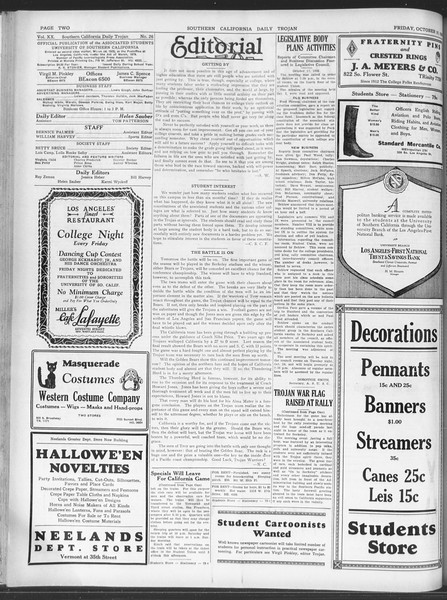 Daily Trojan, Vol. 20, No. 26, October 19, 1928