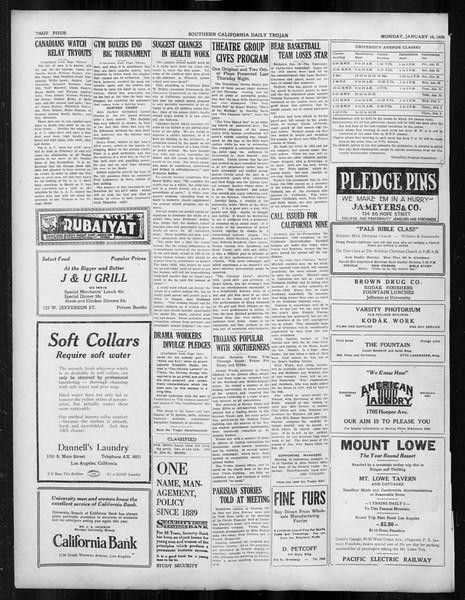 Daily Trojan, Vol. 19, No. 65, January 16, 1928