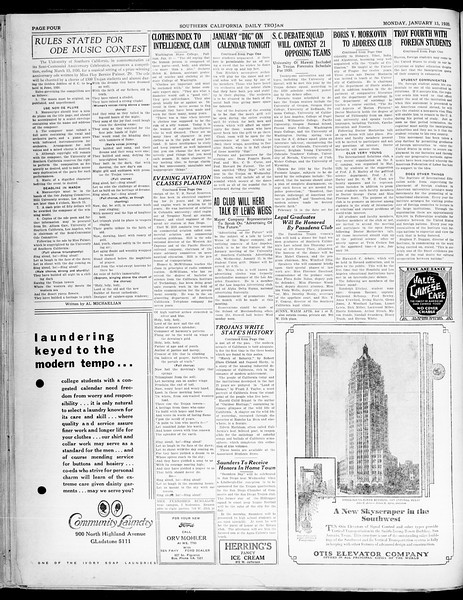Southern California Daily Trojan, Vol. 21, No. 66, January 13, 1930