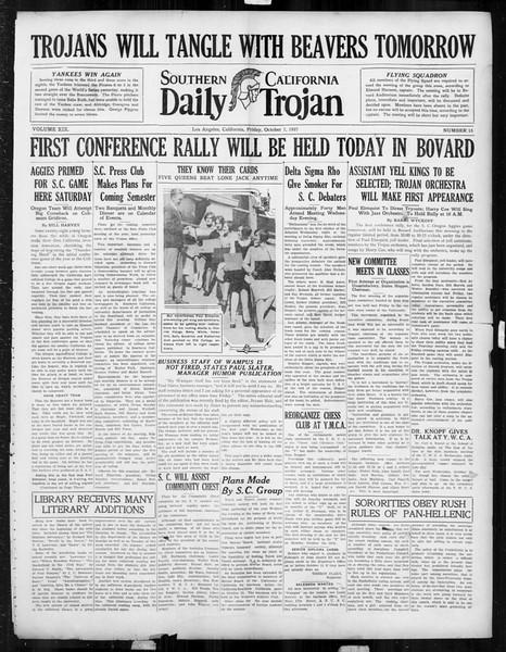Daily Trojan, Vol. 19, No. 15, October 07, 1927