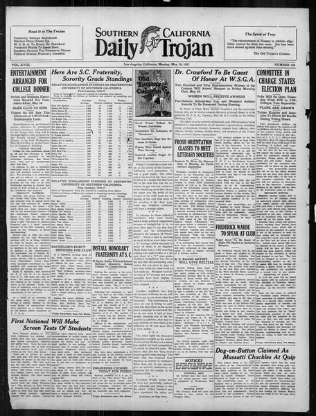 Daily Trojan, Vol. 18, No. 138, May 16, 1927