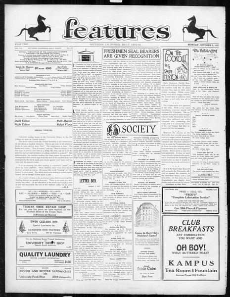 Daily Trojan, Vol. 19, No. 16, October 09, 1927