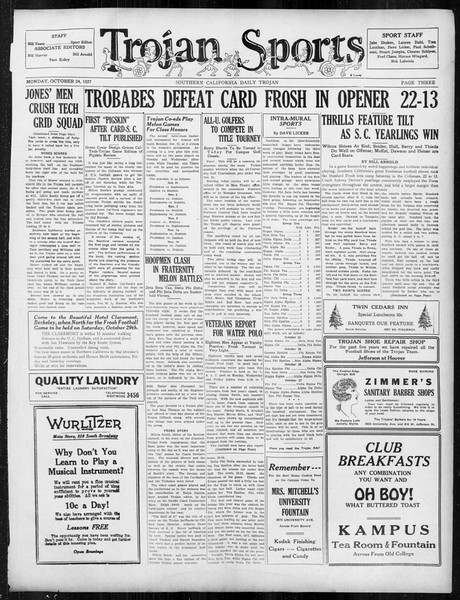 Daily Trojan, Vol. 19, No. 26, October 24, 1927