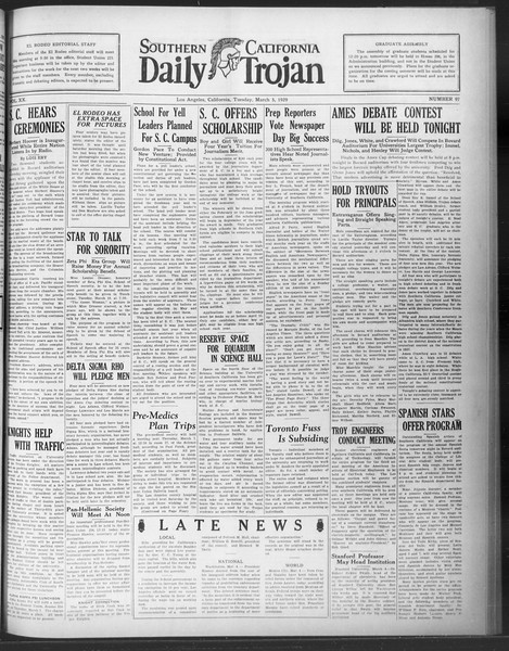 Daily Trojan, Vol. 20, No. 97, March 05, 1929