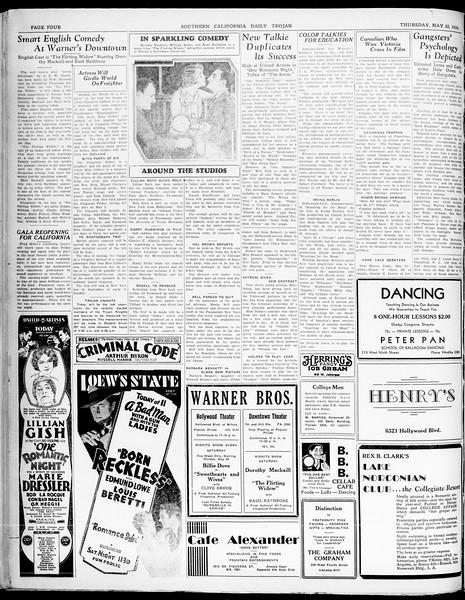 Southern California Daily Trojan, Vol. 21, No. 144, May 22, 1930