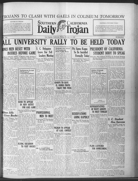 Daily Trojan, Vol. 20, No. 21, October 12, 1928