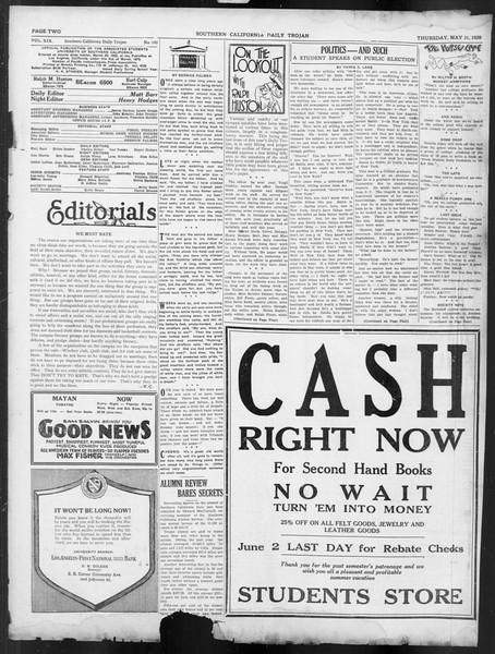 Daily Trojan, Vol. 19, No. 145, May 31, 1928