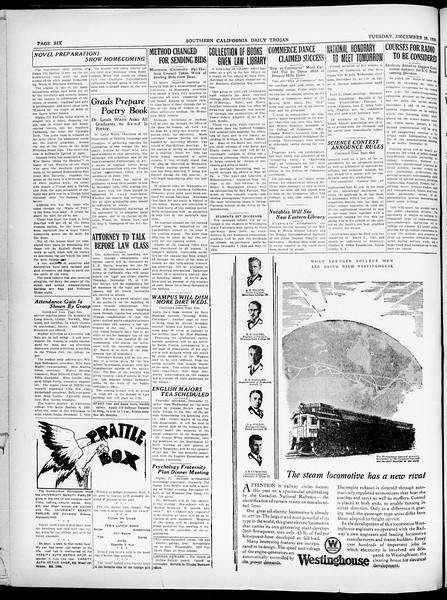 Southern California Daily Trojan, Vol. 21, No. 56, December 10, 1929