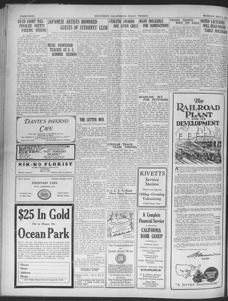 Daily Trojan, Vol. 20, No. 134, May 06, 1929