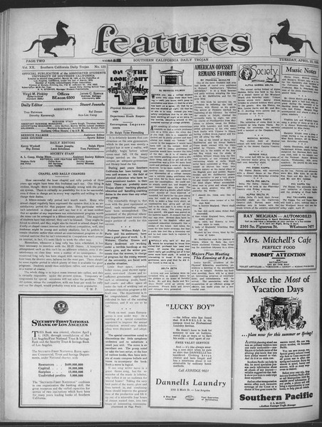 Daily Trojan, Vol. 20, No. 125, April 23, 1929